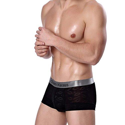 Sansee Mens Shorts Boxer Unterhose, Mode Mens kurze Baumwolle Druck Unterwäsche (L(M), TH01 Schwarz) -
