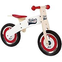 Janod Bikloon Bicicleta sin pedales de madera, Rojo y blanco (J03266)