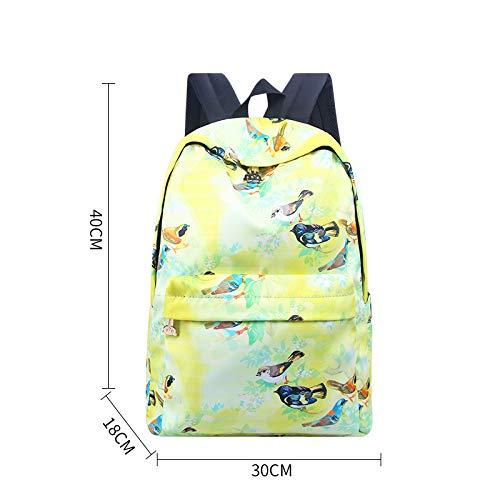 Dames épaule High School University Backpack léger Floral Oxford Oxford toile, oiseau