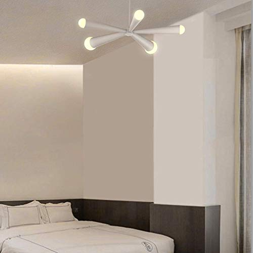 BOSSLV 39W Pendent Lampe Moderne Kreative 5-Lights Acryl Kronleuchter Salon Speisesaal Schlafgemach Hängende Beleuchtung Deckenbeleuchtung L66Cm Warmes Licht 3000K, Weiß - Fünf Light Kronleuchter Lampe