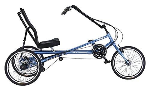 Liegerad X-3 AX für Erwachsene, mit Komfort-Sitz, 150 kg Tragfähigkeit, 24-Gang-Schaltung, 20 Zoll Reifen, Trike / Tadpole / Dreirad / Fahrrad