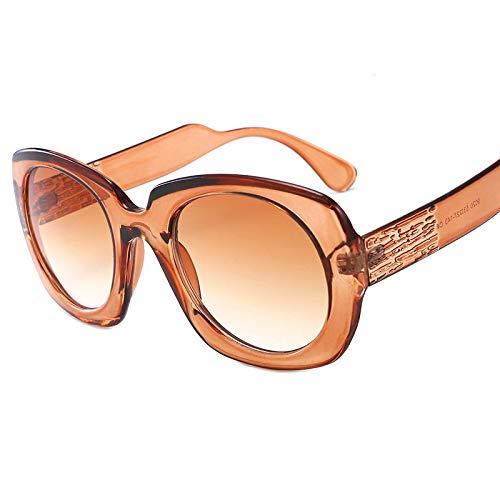 Yangjing-hl Sonnenbrillen Europa und Amerika Retro runde farblich passende Sonnenbrille Modetrend Männer und Frauen Sonnenbrille Tee Rahmen Doppel Tee
