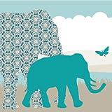 Anna Wand Bordüre Selbstklebend Hello Afrika TÜRKIS/Blau/Grau - Wandbordüre Kinderzimmer/Babyzimmer mit Afrika-Tieren in Versch. Farben - Wandtattoo Schlafzimmer Mädchen & Junge, Wanddeko Baby/Kinder