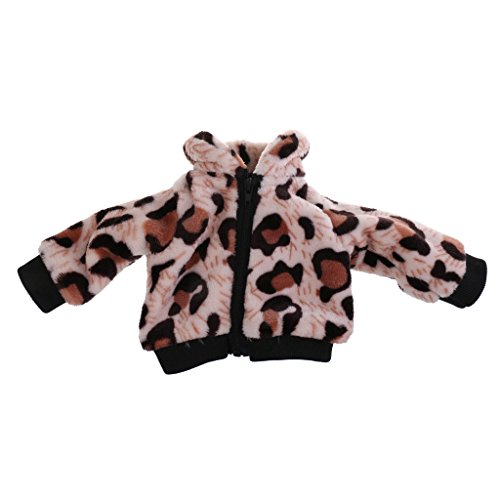 Zoll 18 Muster Puppe (MagiDeal Puppenkleidung Plüsch Mantel mit Reißverschluss Kuh / Leopard Muster für 18 Zoll American Mädchen Puppe - Leopard Muster)