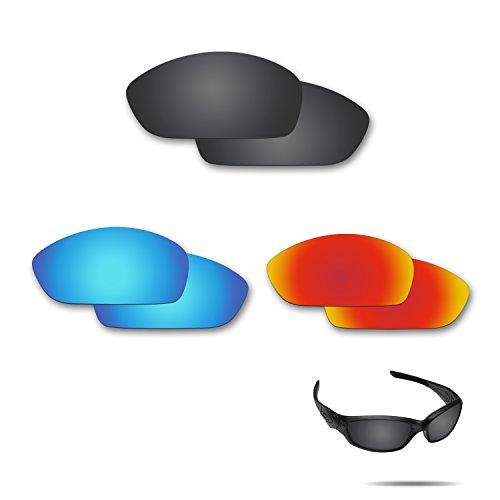 fiskr anti-saltwater Polarisierte Ersatz Gläser für Oakley Gerade Jacke 20073Paar Pack, Stealth Black & Fire Red & Ice Blue