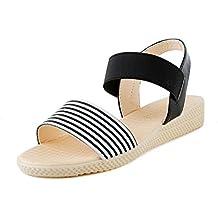 3c09bcd7d48f1 PAOLIAN Sandalias de Vestir para Mujer Verano 2018 Moda Playa Romano  Sandalias Impresion de Rayas Suela