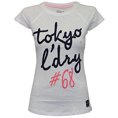 Damen Top Tokyo Laundry Damen T-shirt Flügelärmel Felt Stickerei Aufdruck Sommer weiß - 3c9107
