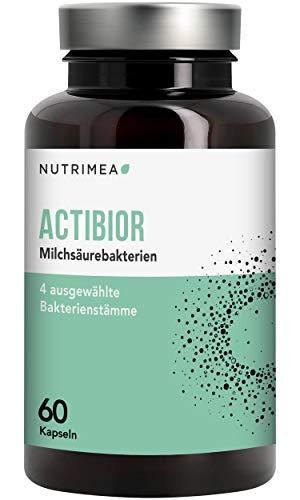 Bakterienkulturen Komplex Actibior - 80 Mrd. Bakterien 4 Bakterienstämme = 5,7 Mrd. KbE - Magensaftresistente Kapseln Milchsäurebakterien Lactobacillus + Bifidobacterium. Verdauung Darm Immunsystem