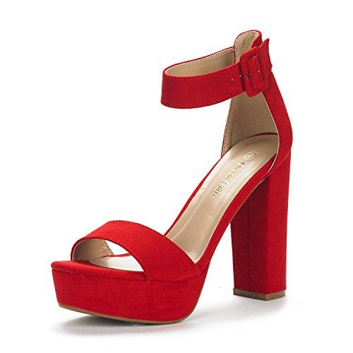 Dream Pairs Hi-Lo Sandalias de Tacón Alto Pump Plataforma Ante para Mujer Rojo 38.5 EU/7.5 US