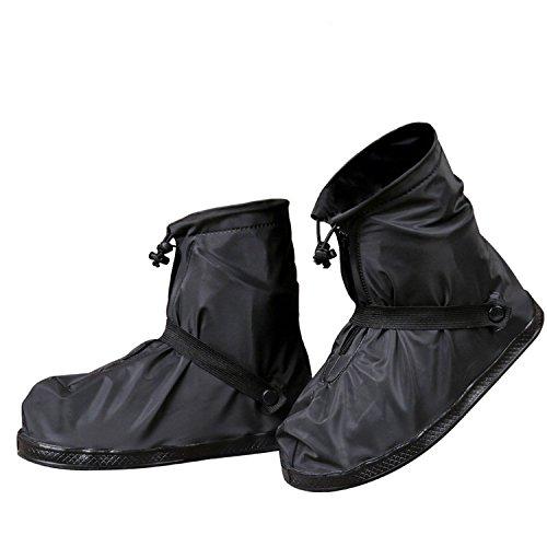 GESIMEI Regenüberschuhe Wasserdicht Schuhüberzieher Mehrweg Regenstiefel Schuhe Abdeckung Rutschfest Fahrrad überschuhe Herren Damen (Schwarz, M (37-38 Damen))