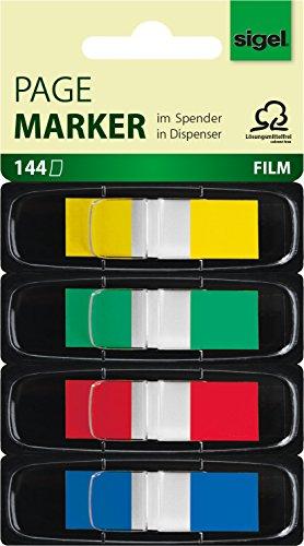 Sigel HN495 Haftmarker im Spender, 144 Mini-Streifen im Format 12 x 43 mm, 4 Farben
