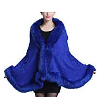 Hongyuangl Women Faux Fur Shawl Wraps Cloak Coat Sweater Cape Winter Bridal Wedding Cover Up Blue