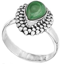 Exotic India Gemstone Drop Ring with Grains - Sterling Silver - Color Malachite Ring Size 8