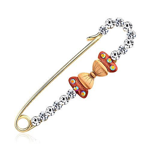 Broschen Koreanisch Version der einfachen süßen Schleife mit Diamant Brosche Mode Damen Kragen Nadel Manschette Brosche 7,1 * 2,0 cm