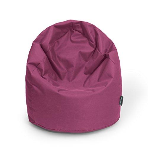 BuBiBag Sitzsack Tropfenform Beanbag Sitzkissen für In & Outdoor XL 300 Liter bis XXXL 470L mit Styropor Füllung in 23 versch. Farben (XXXL Ca. H : 130cm - Dm : 85cm ca. 490 Liter, weinrot)