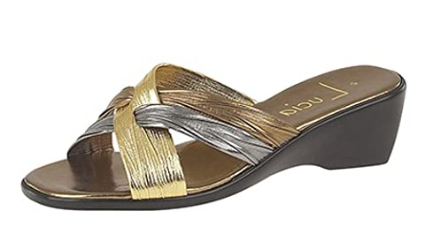 Ladies Mule Wedge heel sandals casual or evening Bronze/Pewter/Gold size 4