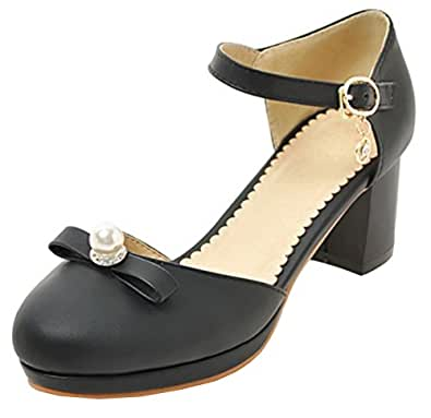 SHOWHOW Damen Süß Schleife Geschlossen Cut Out Pumps Sandale Mit Schnalle Beige 33 EU jQNRoy