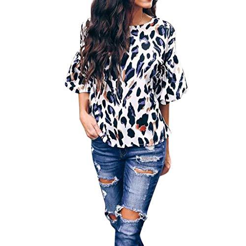 Oksea Peplum Top Bluse Damen Langarm U Neck Leopard Muster Damen Casual Print Kurzarm Leopard Oansatz Bluse Shirt Pullover Tops (Langarm Peplum Top Damen)