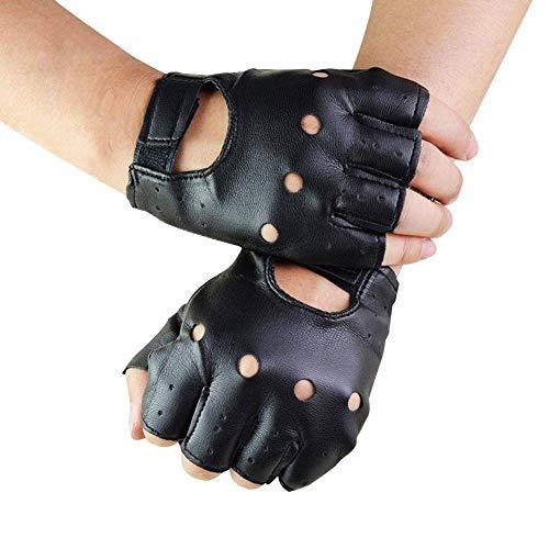 Haodene Unisex Guantes Sin Dedos De Cuero Negro De PU Sólido Femenino Medio Dedo Conducción Mujeres Hombres Moda Transporte Motor Guantes Punk, 1 Par