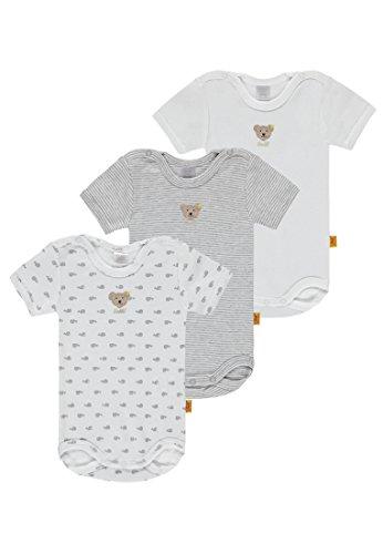 Steiff Baby Jungen Body 3er Pack. grau-weiß 6715016 (74)
