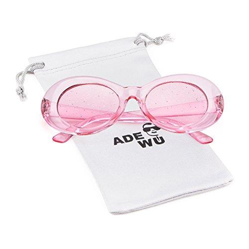 ADEWU Ovale Sonnenbrille UV400 Schutz Vintage Clout Goggles für Damen Herren (B - Rosa)