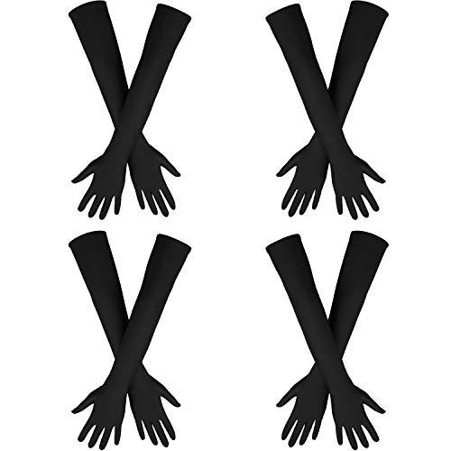 Lange Handschuhe Kostüm - 4 Paar 21 Zoll 20er Jahre Opera Handschuhe Damen Satin Handschuhe Ellenbogen Länge Abendhandschuhe für Halloween Kostüm (Schwarz)