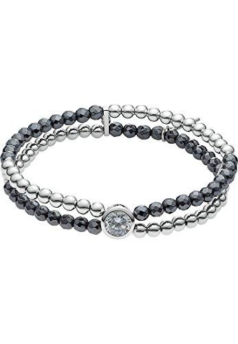 JETTE Silver Damen-Armband Summer Night 925er Silber 1 Zirkonia 42 Glasstein One Size, silber/anthrazit