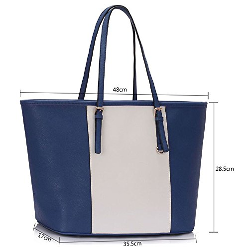 Trend Star woman designer handbag ladies fashion patent tote bag (D - Black / White) E - Marine/Weiß