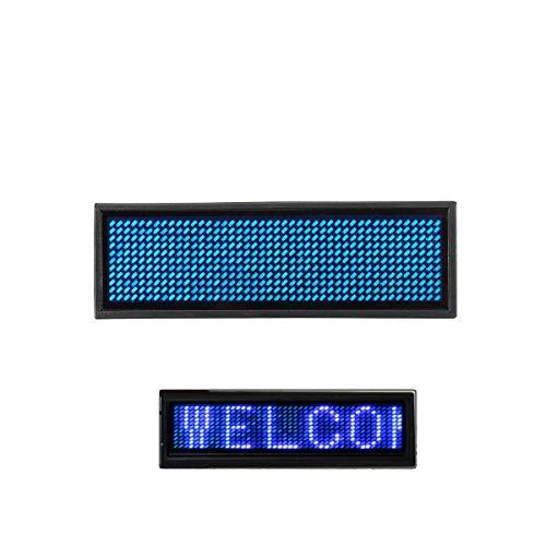 LED-Digital, programmierbar, mit Namensschild, Namensschild, wiederaufladbar, Global Language Display Mini Badge blau