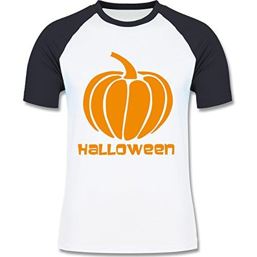 Halloween - Kürbis - zweifarbiges Baseballshirt für Männer Weiß/Navy Blau