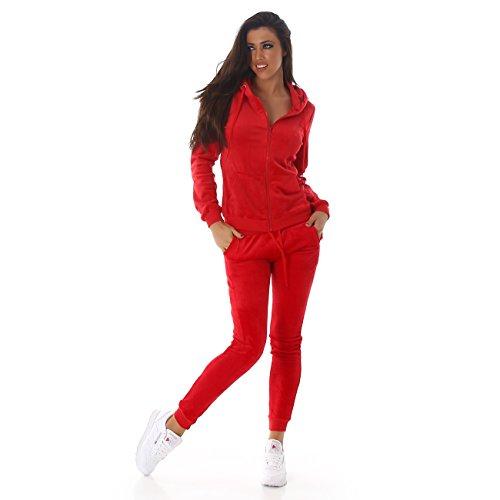 Jela London - Damen Velours- Wellnessanzug I Hausanzug I Jogginganzug mit Kapuze und Kordelzug Samtig S-M-L in 8 Farben Red