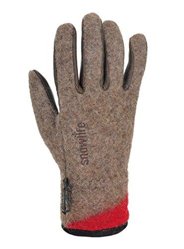 Army Herren-leder (Snowlife Winterhandschuhe Herren mit Leder-Innenhand - aus Wolldecken der Schweizer Armee - ideal für Wintersport oder Outdoor Swiss Army, braun XL)