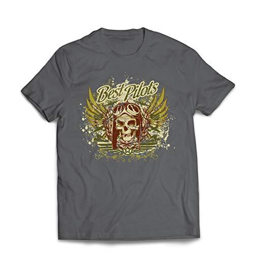 lepni.me Männer T-Shirt Die besten Piloten - Flugzeug fliegen Schädel (XXX-Large Graphit Mehrfarben) -