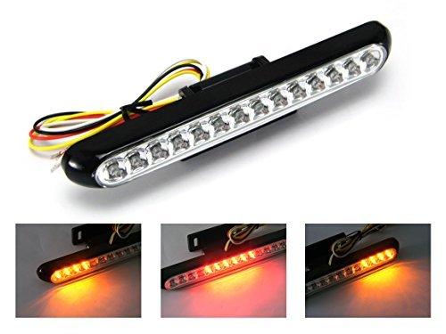 NEGRO Universal, de LED, para moto, freno / piloto trasero con intermitentes...