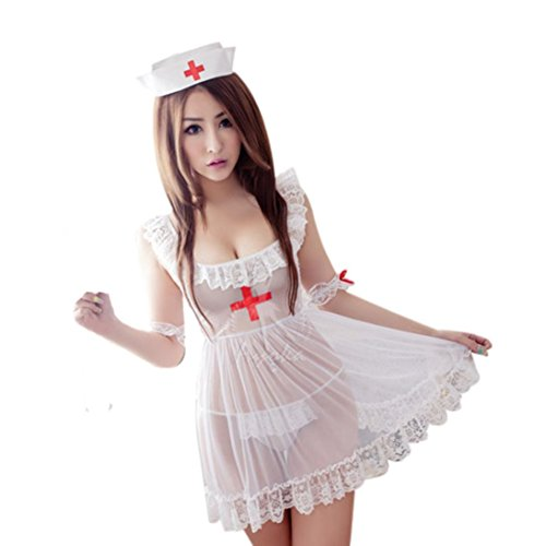 Frauen Reizvolle Wäsche Kasten Unterwäsche Krankenschwester+T-Rückseite A (Kleid Sexy Krankenschwester)