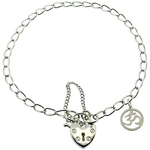 Maciza de 925 plata de ley para mujer 19,05 cm pulgada (19 cm) candado con Om Aum Ohm encanto de Yoga hindú en caja de