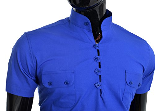 D&R Fashion Hommes manches courtes été chemise col mao amincissent Bleu
