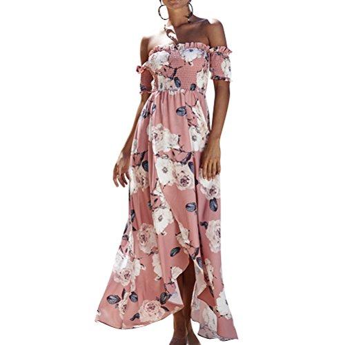 Floral Schulter (Nlife Frauen Sommer Sexy Off Schulter Floral Split gefaltet Strand Kurzarm Lang Maxi Kleid)