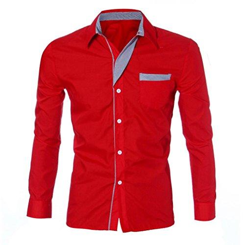 Sonnena uomo camicia a maniche lunghe moda lusso Slim Fit elegante casual camicie nero Navy m Red