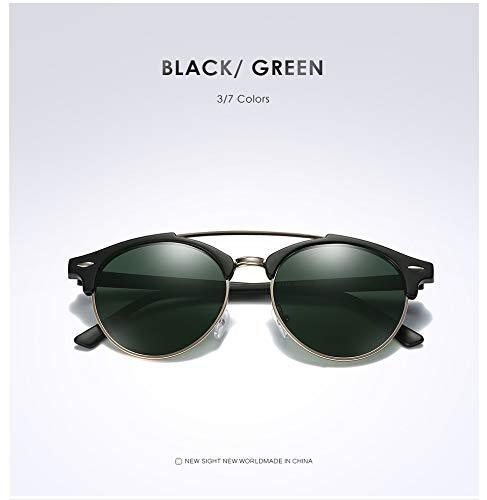 TYJMENG Sonnenbrillen Retro Doppelbrücke Runde Sonnenbrille Polarized Mens Womens Mode Vintage Sonnenbrille Oculos De Sol, Schwarz W Grün
