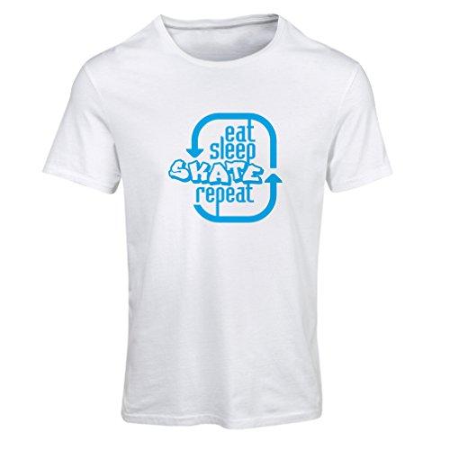 N4194F Eat Sleep Skate Repeat Short Sleeve t-shirt femelle White Blue