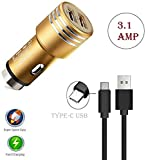 Fast Car Charger For Nubia Z17 Mini High Version Dual Port USB Metal Car Charger | High Speed Rapid Fast Turbo Metal Android & Tablets Car Mobile Charger with Type-C USB Data Charging Cable | Smart Charging with Quick Charge Universal Car charger Smart Charging with Quick Charge [ 3.1A , Multi-Colour ]