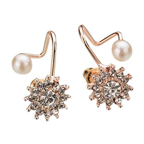 Ohrstecker Damen,DOLDOA Schmuck Ohrringe Earring Faux Perle Schneeflocke Snow Flower(Rose Gold)