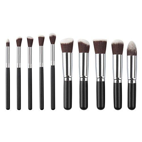 Hrph 10pcs Mini Kit Outils Pinceaux de Maquillage Cosmetique Poudre Fard à Paupière Blush Brosse Cosmetique