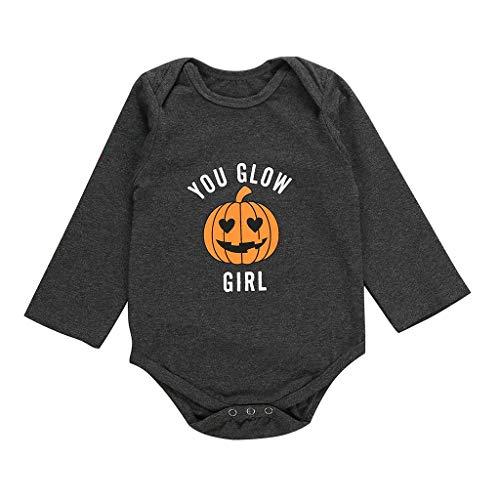 DOLLAYOU Babykleidung Mädchen Halloween Kürbis Teufel 3D Printed Overall Girl Kostüm Baby Junge Unisex Baumwolle 0-24 Monate (Kinder Vogelscheuche Baby Kostüm)