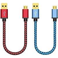 Cable Micro USB, BeneStellar Cable Micro USB [2 Pack] de alta velocidad de Sincronización y Carga para Samsung, Nexus, LG , Motorola, HTC, Nokia, Teléfonos Inteligentes de Android (rojo y azul 0,3m)