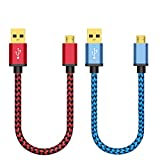 Micro USB Cable 2-Pack 30cm, BeneStellar Premium Nylon Braided Micro USB Cable, USB 2.0 A Male to Micro B Sync and Charging Cables for Samsung, HTC, Nexus, Sony, Motorola, Nokia, Android and More (Red & Blue 2* 1ft)