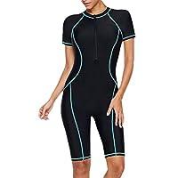 ملابس سباحة نسائية من قطعة واحدة مخططة بسحاب أمامي من GAGA ازرق سماوي US XX-Small