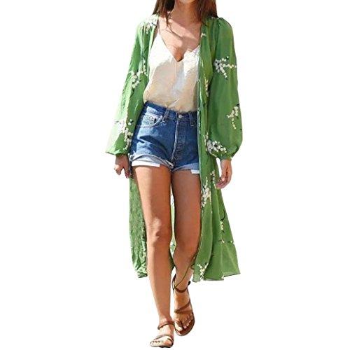 Mujer Bohemia Floral Gassan Cardigan Tops Largos mantón