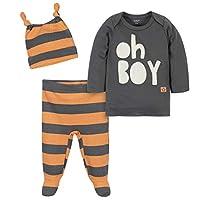 طقم قميص عضوي من 3 قطع من مجموعة جرافر باي جيربر، سروال للقدم وقبعة Ivory/Orange 0-3 Months